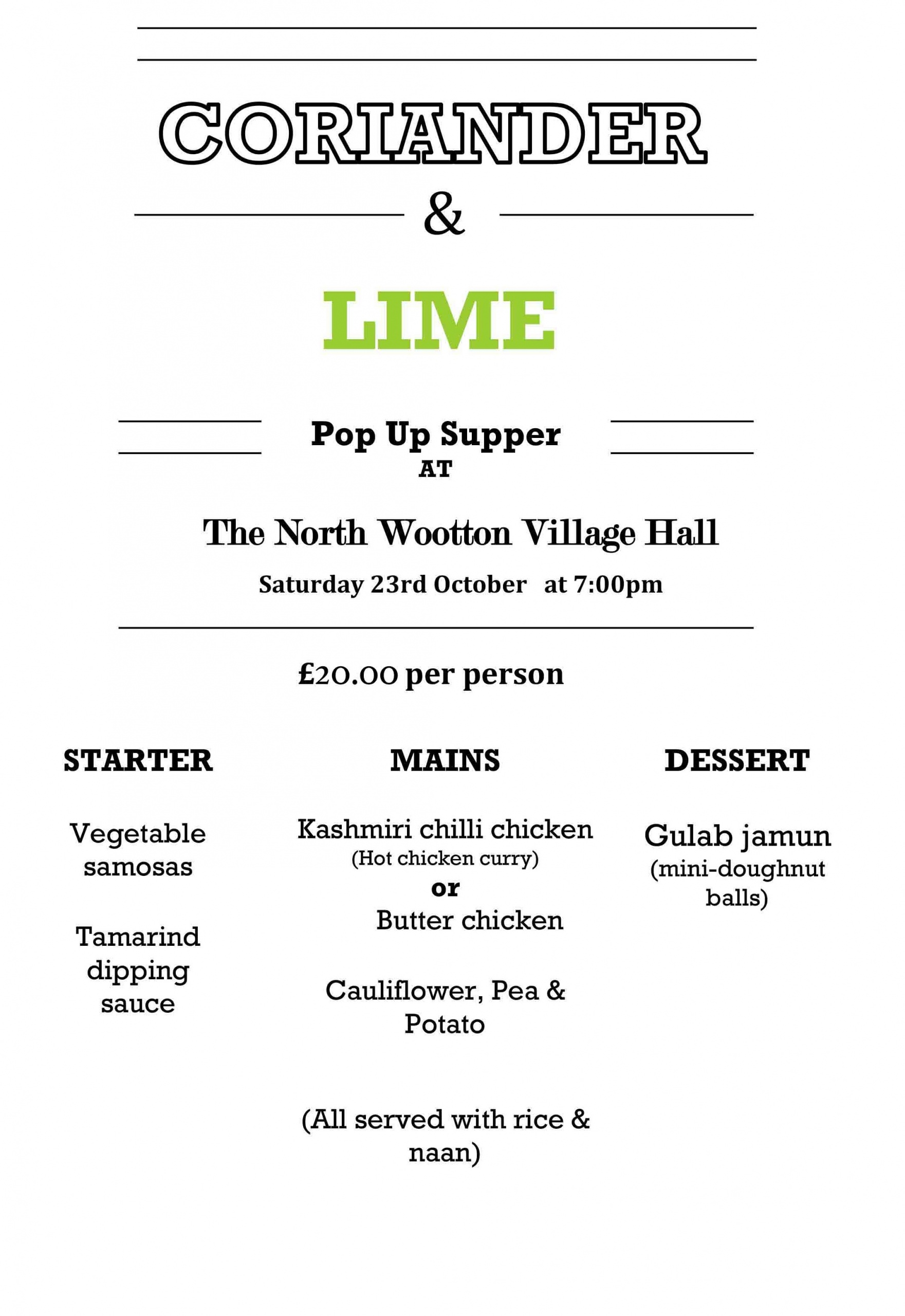 Indian Night Menu North Wootton Village Hall October 2021 Coriander and Lime